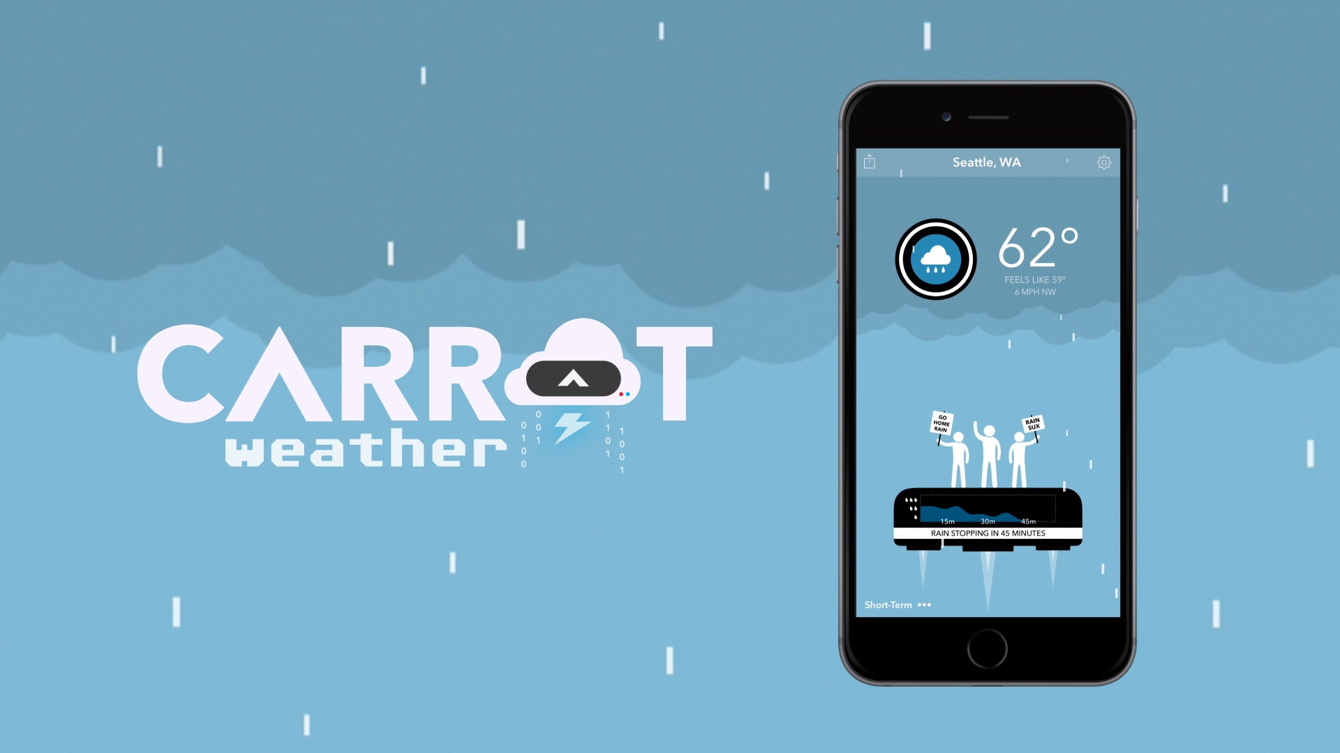 Sadistic robots in Carrot Weather taunt we when it's going to rain