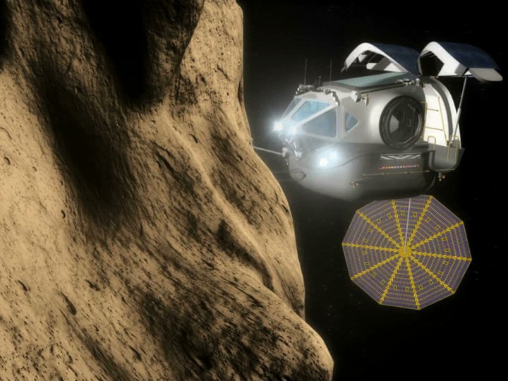 An artist's source of a space scrutiny car coming an asteroid. Credit: NASA