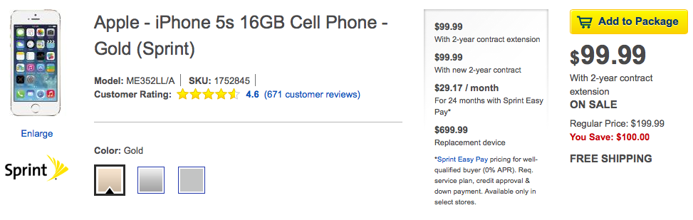 iPhone 5s/5c is half cost during Best Buy until Sunday